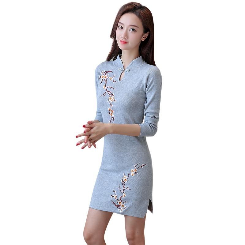 Modern Chinese Style Improvement Cheongsam Dresses Long Bridesmaid Elegant Young Girls Sleeves Daily
