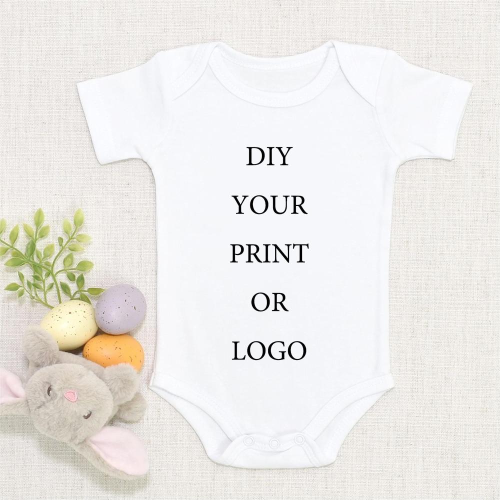 DIY YOUR PRINT OR LOGO Newborn Bodysuit Short Sleeve Jumpsuit Breathable Casual Harajuku Simple CUST