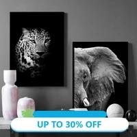 Toile daffiches danimaux  noir et blanc  leopard  hibou  prise de vue reelle  tableau dart mural pour decoration de salon  decoration de maison
