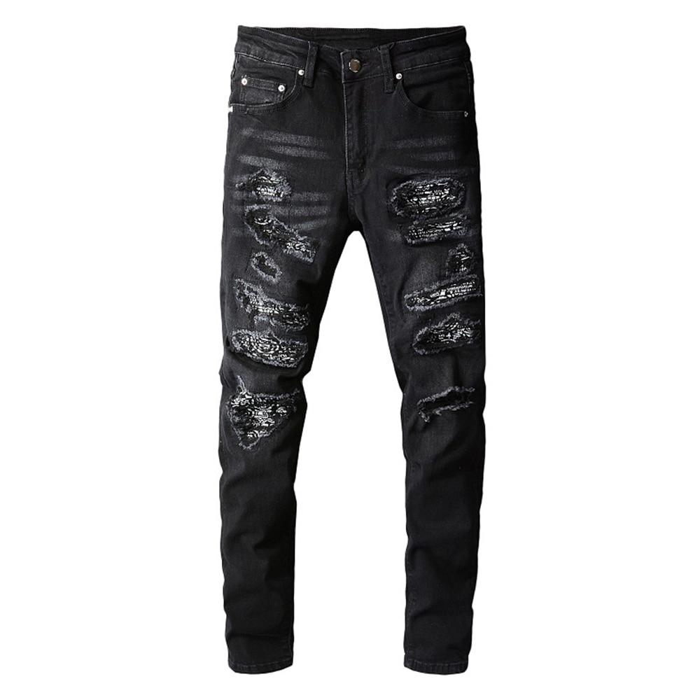 الرجال باندانا بيزلي مطبوعة المرقعة جينز سترتش الشارع الشهير الأسود الدينيم سروال شكل قلم رصاص نحيل ممزق بنطلون