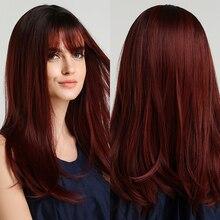 Parrucche sintetiche Ombre rosso scuro marrone scuro con frangia parrucche diritte medio lunghe per le donne Cosplay festa quotidiana resistente al calore