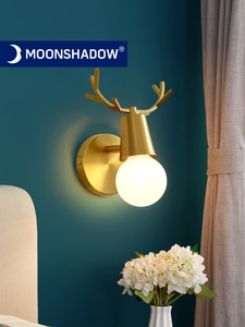 MOONSHADOW Wall Lamps LED Full Brass Adjustable Bedside Wall Lighting Antlers Design For Bathroom Wire/Switch 220V Wall Lamp EU