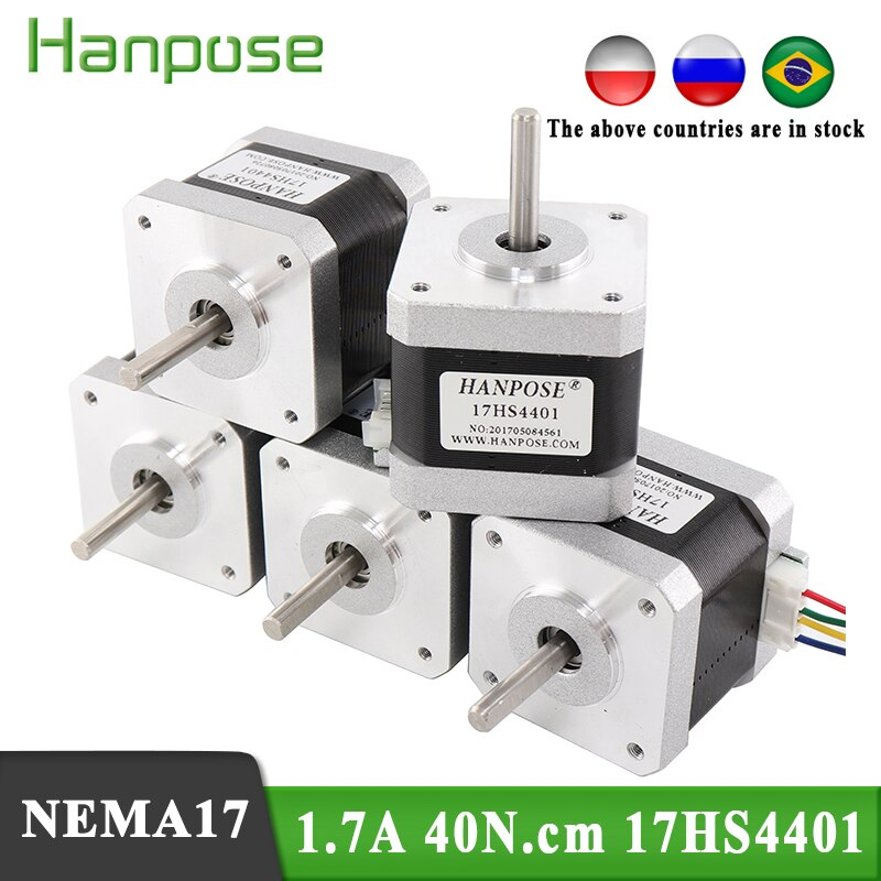 5 uds 4-plomo Nema17 Motor paso a paso 42 motor Nema 17 1.7A (17HS4401) 3D impresora motor y CNC XYZ