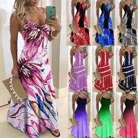 s 5xl summer casual women maxi dress sexy robe floral printed long dress sleeveless v neck plus size women dress loose vestidos
