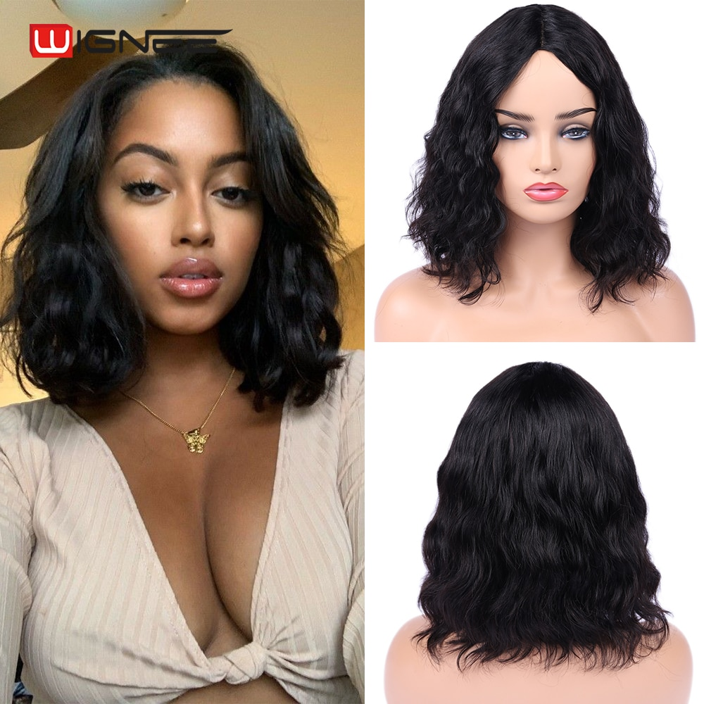 wignee natural wave lace front short human hair wigs for black women 150% density remy hair ombre green pink 613 swiss human wig Wignee Body Wave Short Bob Wigs Ocean Wave Lace Part Human Hair Wigs 150 Density Brazilian Pre Plucked Lace Wig For Black Women