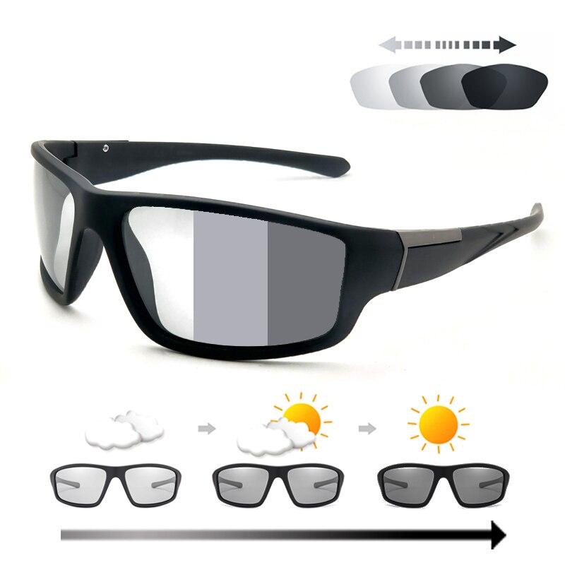 Мужские фотохромные солнцезащитные очки, матовые черные спортивные очки для мужчин и женщин, меняющие цвет поляризационные солнцезащитные...
