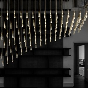 Modern LED Crystal Pendant Lights Restaurant Light Staircase Living Room Hall Interior Decor Villa Lamp Lighting Hanging Lamp