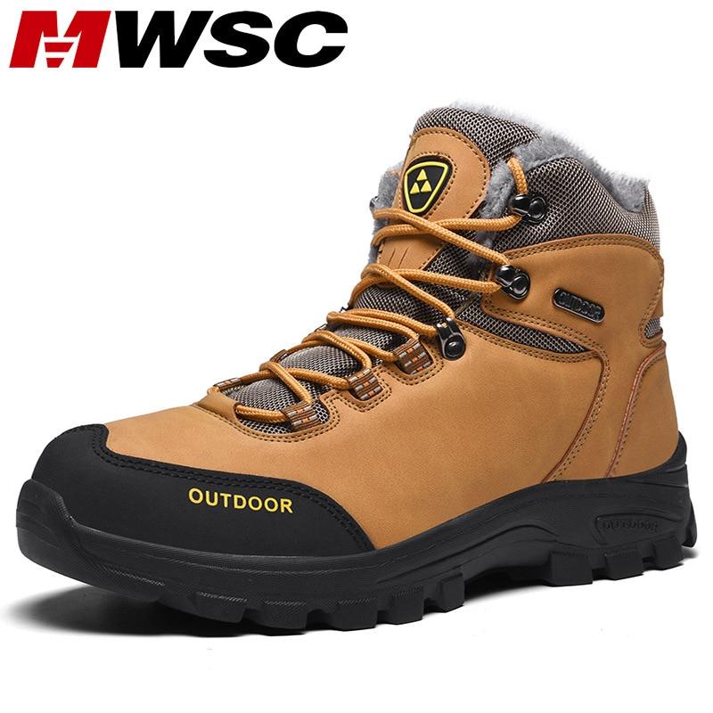 Mwsc quente forro de pele tornozelo botas de neve para homem masculino ao ar livre à prova dwaterproof água botas de neve sapatos masculinos não-deslizamento sapatos de neve botas casuais