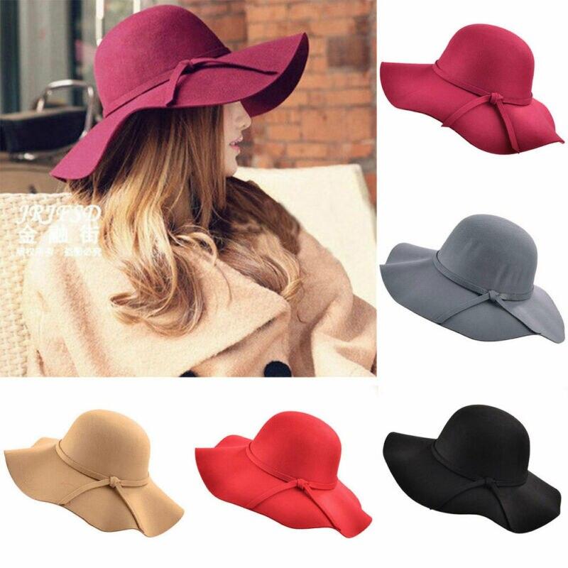 Women Ladies Fashion Vintage Hat Floppy Wide Brim Wool Felt Bowler Beach Hat Summer Soft Simple Sun