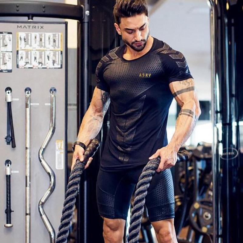 Брендовая мужская мышечная футболка для бодибилдинга, для фитнеса, мужские топы, хлопковые футболки больших размеров, хлопковая Сетчатая футболка с коротким рукавом