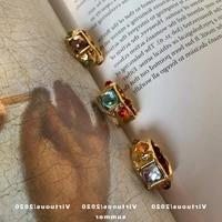 virtuous niche vintage inlaid colored gemstone ring irregular gold mondomondo