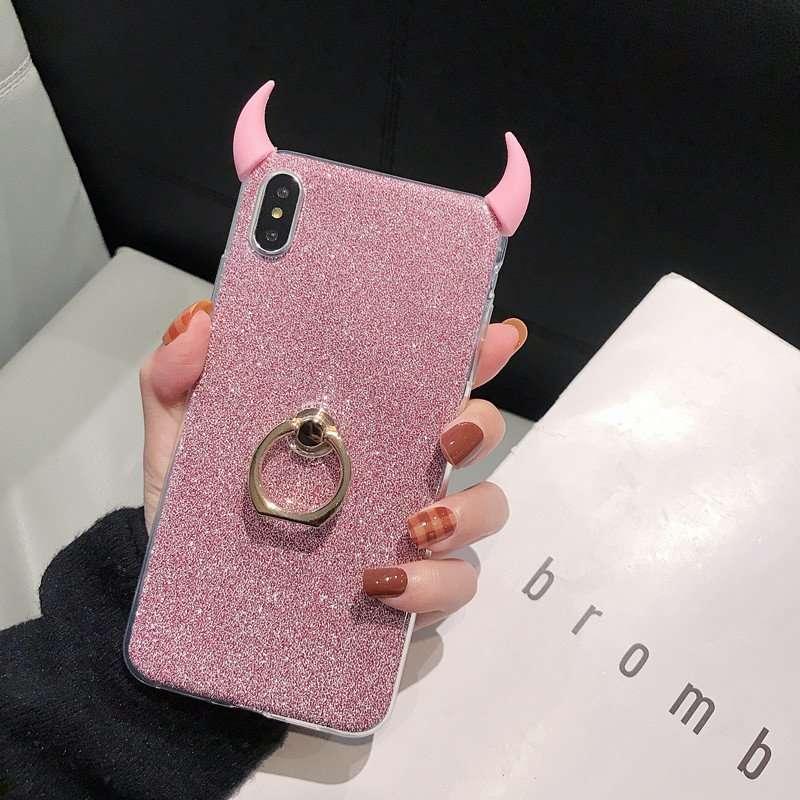 For Huawei P20 P30 Mate 20 mate30 Pro Lite Nova 6SE Devil horn Glitter Crystal Stand Holder Phone Case Honor 10 Lite 20 9X 8X