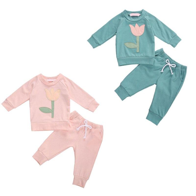 0-3Y otoño invierno Bebé niñas conjuntos de ropa flores estampado manga larga suéter Tops pantalones 2 uds traje