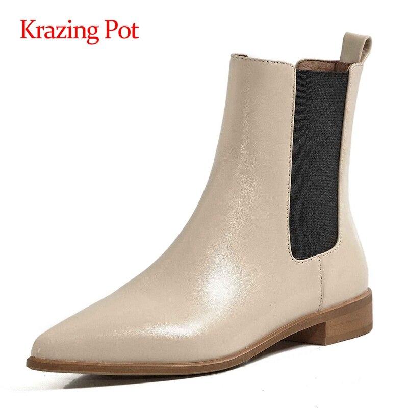 Krazing pot buty do pracy duże rozmiary skóra bydlęca patchwork szpiczasty nosek gruby na niskim obcasie slip on office lady odzież na co dzień botki L26
