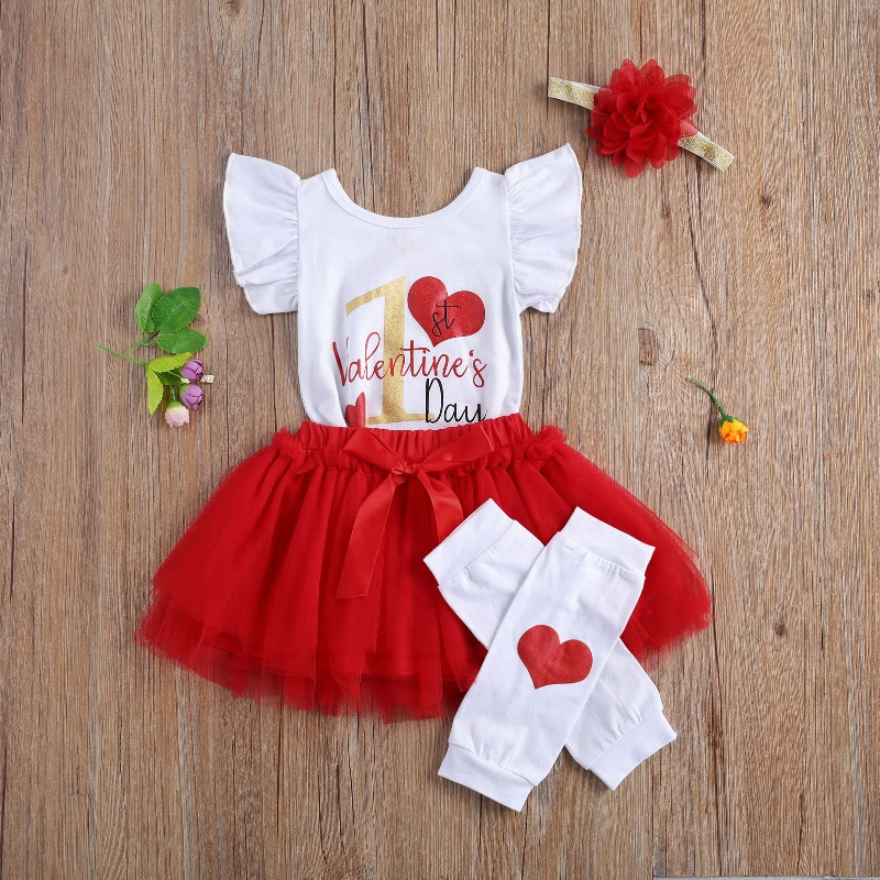 4Pcs Outfits Newborn Baby Girl's First Valentine's Day Clothes Sets Printed Romper Tops Tutu Skirt Headband Leg Warmers Baby Set