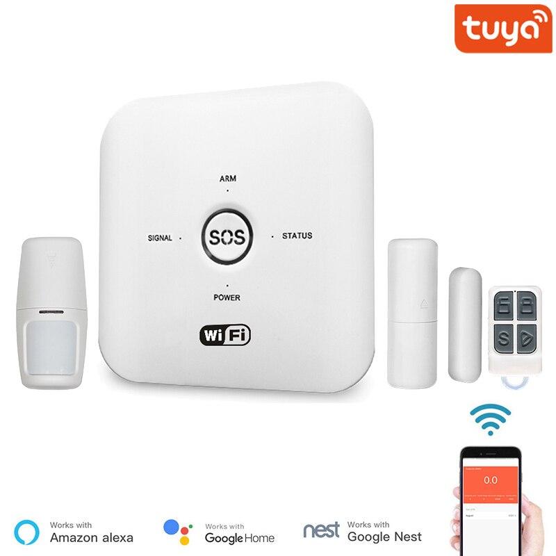 نظام إنذار أمن الوطن الذكي GSM لاسلكي واي فاي متوافق مع Tuya تطبيق الحياة الذكية PIR التحكم عن بعد مع أليكسا جوجل هوم