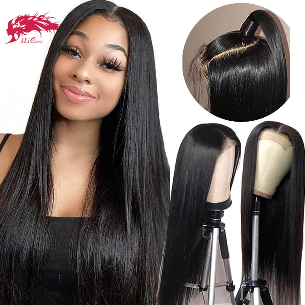 """Straight 4x4/13x4 HD Transparent Lace Frontal Wigs 10"""" to 24"""" With Pre-Plucked Hairline Brazilian Straight Custom Lace Wig"""