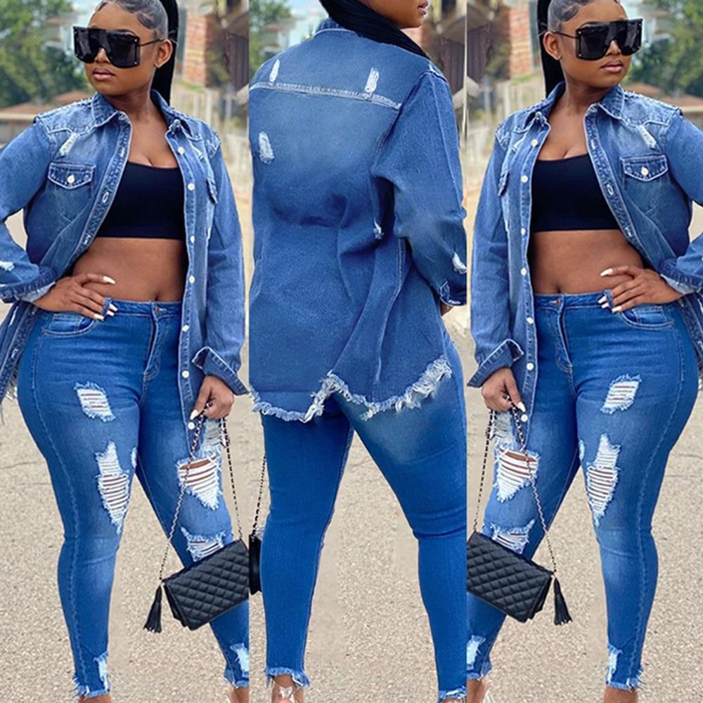 Casual Blue Denim Jacket Fringes Long Sleeve Loose Casual Denim Jacket For Women Autumn Winter Jacket Women Outwear
