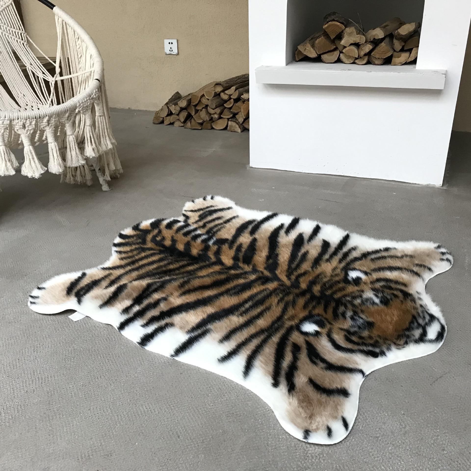 Impressão do couro tapete artificial de lã de vaca pele do falso couro banheiro anti-deslizamento tapete de impressão animal para casa 3 tamanho