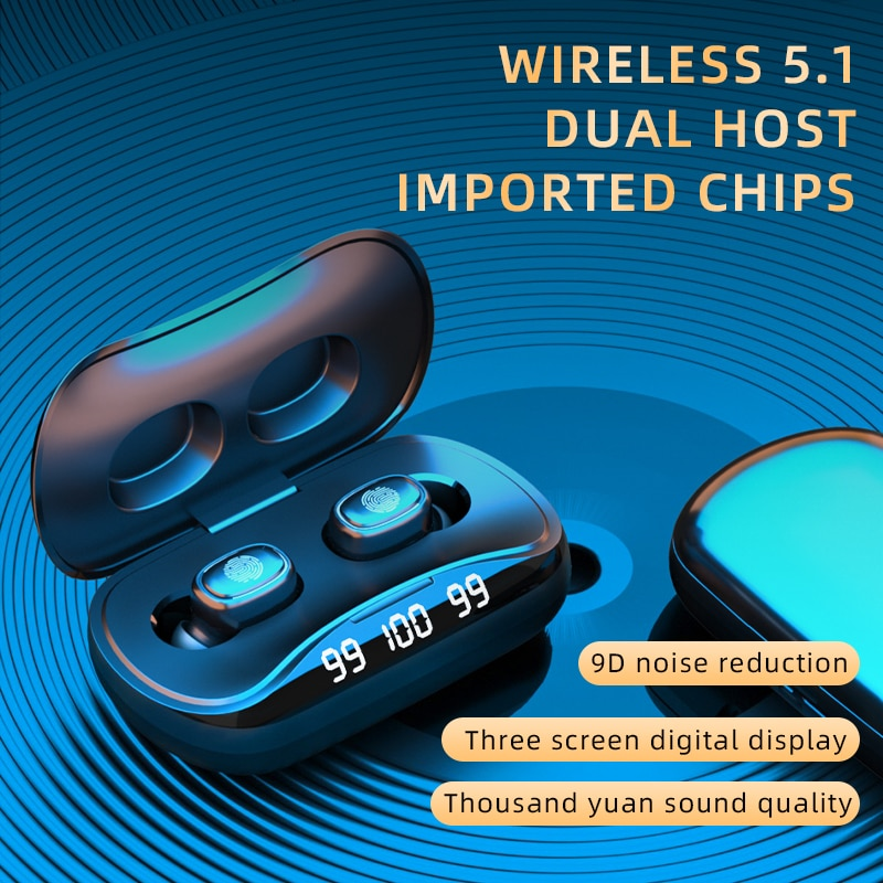 TWS Wireless Bluetooth 5.1 In Ear Earphone 1500mAh Charging Box Touch Stereo Music Sport Waterproof Headphones With Microphone