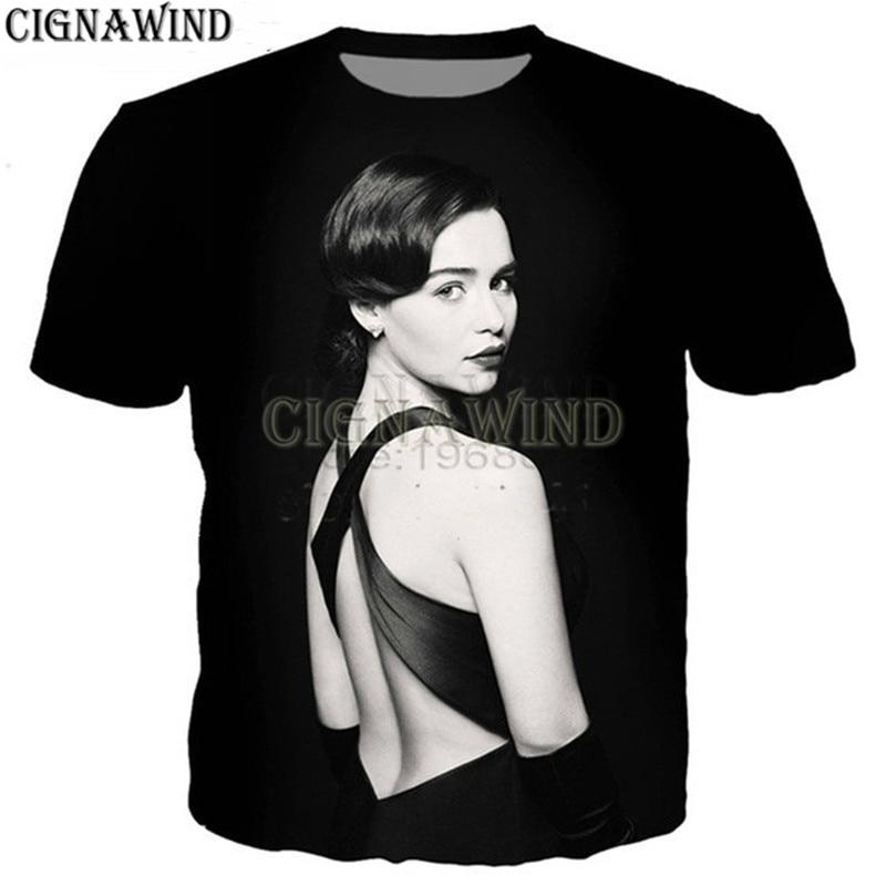 Fashion t shirt men/women Actor Emilia Clarke 3D printed t-shirt unisex Harajuku style tshirt streetwear tops