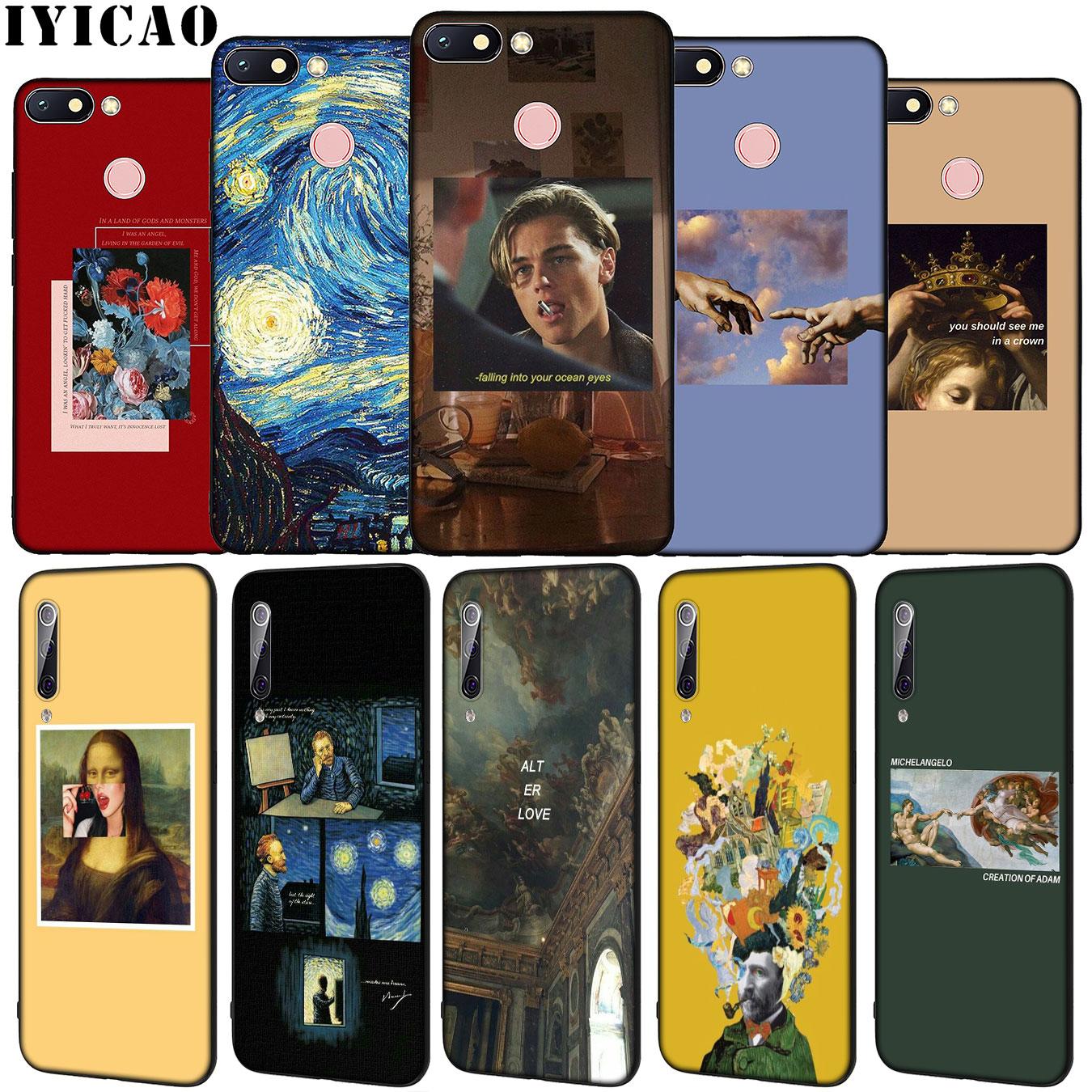 Arte estética van gogh mona lisa silicone macio caso de telefone para xiaomi redmi 8a 7a 6a 5a k20 s2 4a 4x nota 8 7 6 pro 5 mais capa