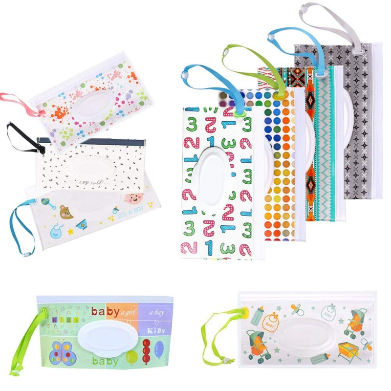 Cartoon Eco-friendly Baby Wet Wipes Bag Snap Strap Wipes Container Clamshell Cosmetic Pouch Clutch Cleaning Wipes Carrying Case