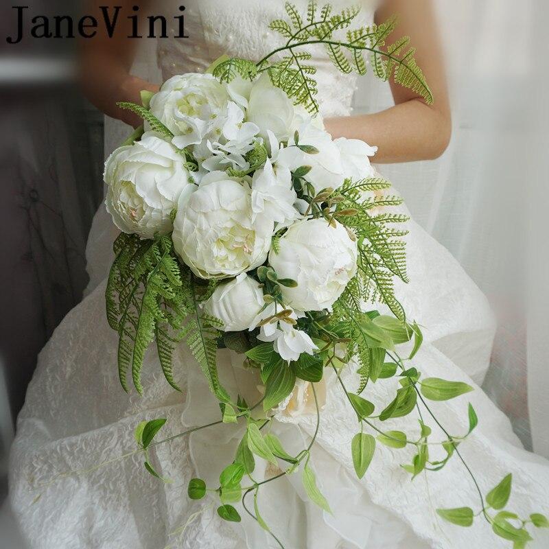 JaneVini قطرات نمط باقات زفاف الاصطناعي الأبيض الفاوانيا شلال الزفاف باقة الأخضر يترك اللؤلؤ الدانتيل العروس الزهور
