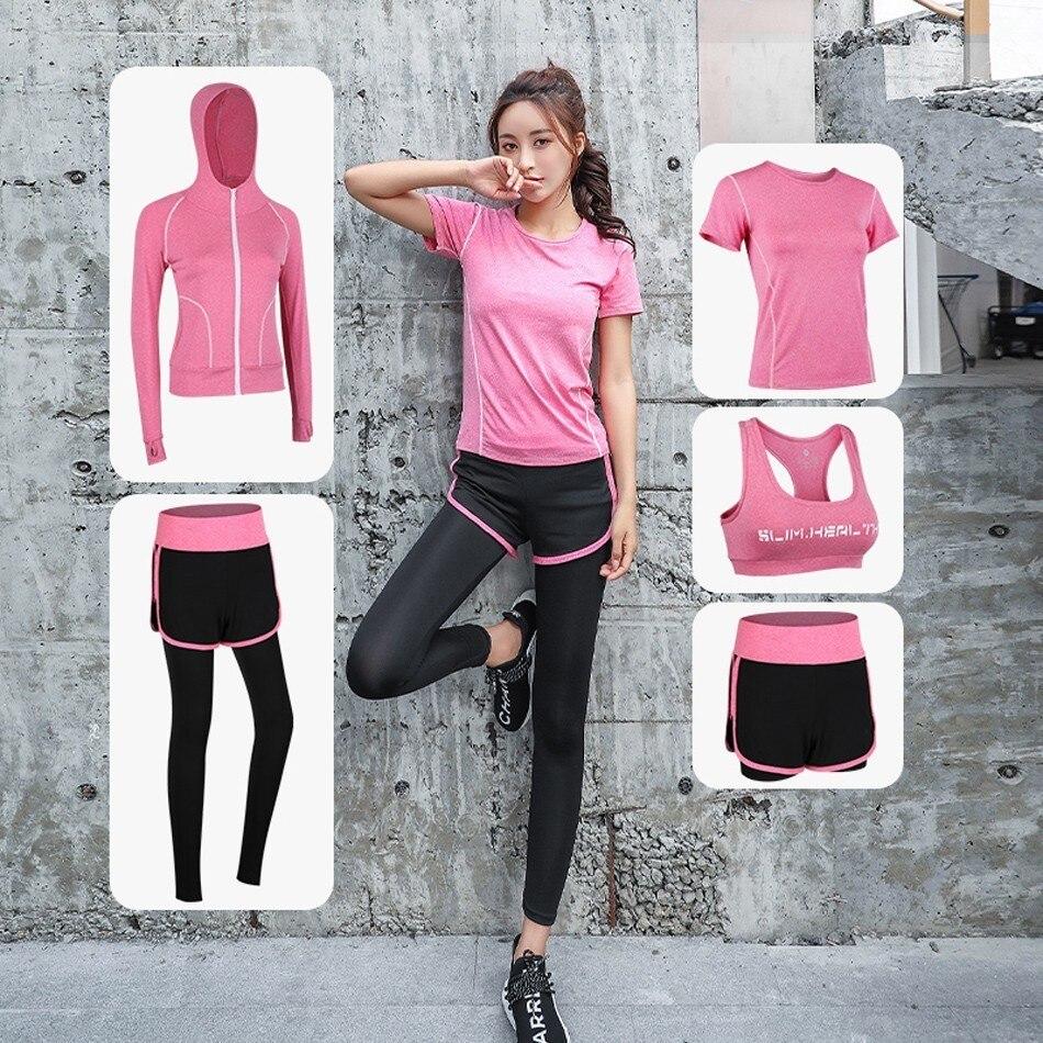 Женские комплекты для йоги, 5 предметов, женские комплекты одежды, одежда для тренажерного зала для женщин, спортивная одежда, спортивная тр...