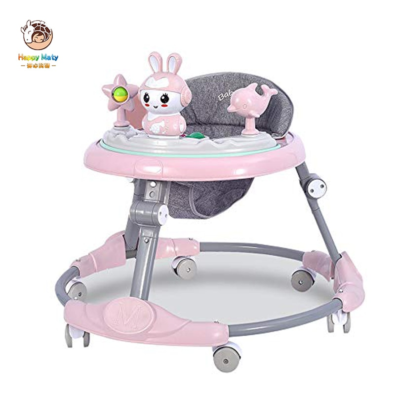 wholesale baby walker with 8 wheels anti runover multi function skating car with music toys learning walkers walking assistant Happymaty Baby Walker with Wheels Multi-function Anti-rollover 6-18 Months Kids Music Balance Car Learning Toddler Walker HM131