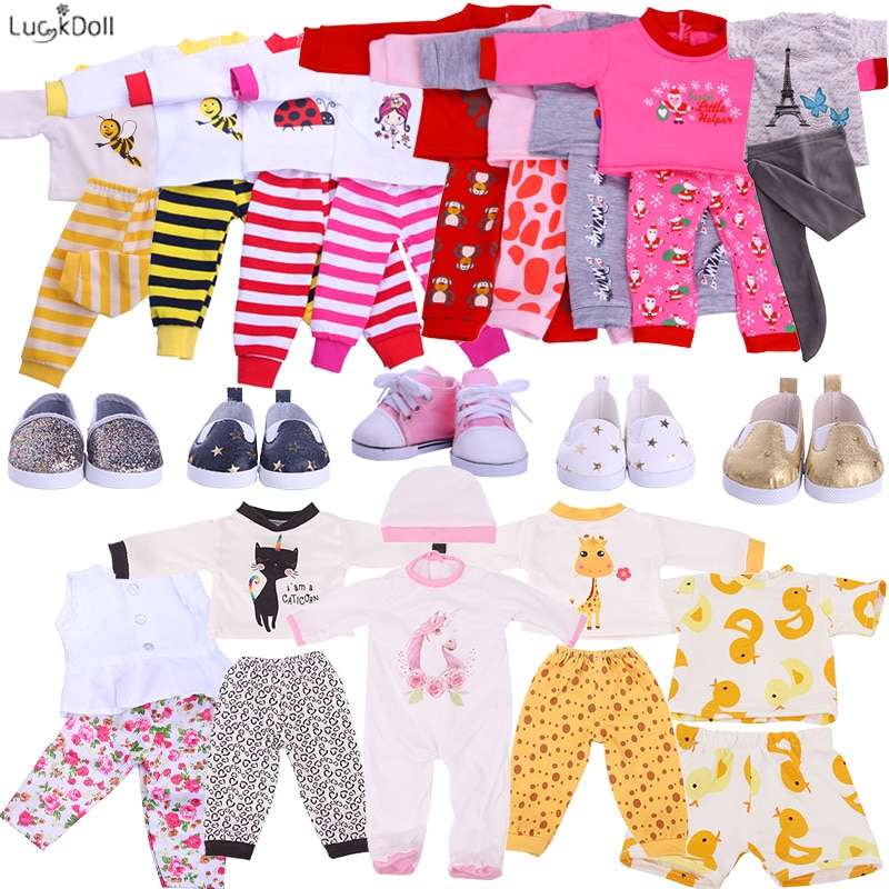 Promotio!2 Pcs/Set Cute Pajamas Doll Accessories Clothes Dress For 18 Inch Girl Doll & 43 cm New Bor