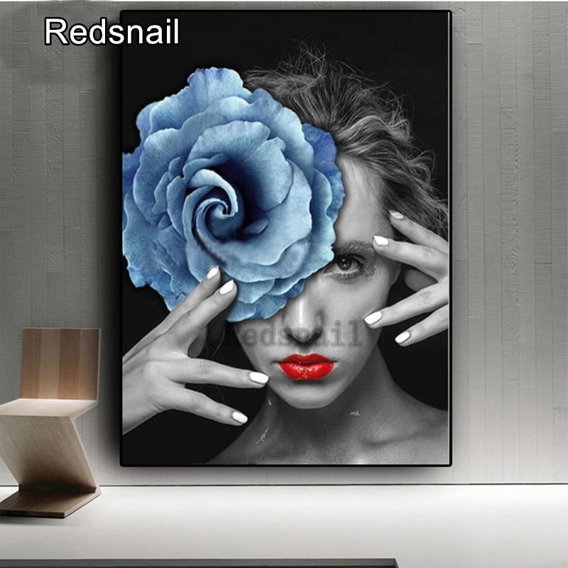 5D DIY pintura de Diamante Azul Rosa mujer punto de cruz squareround completo diamante mosaico bordado belleza chica arte pintura TT176