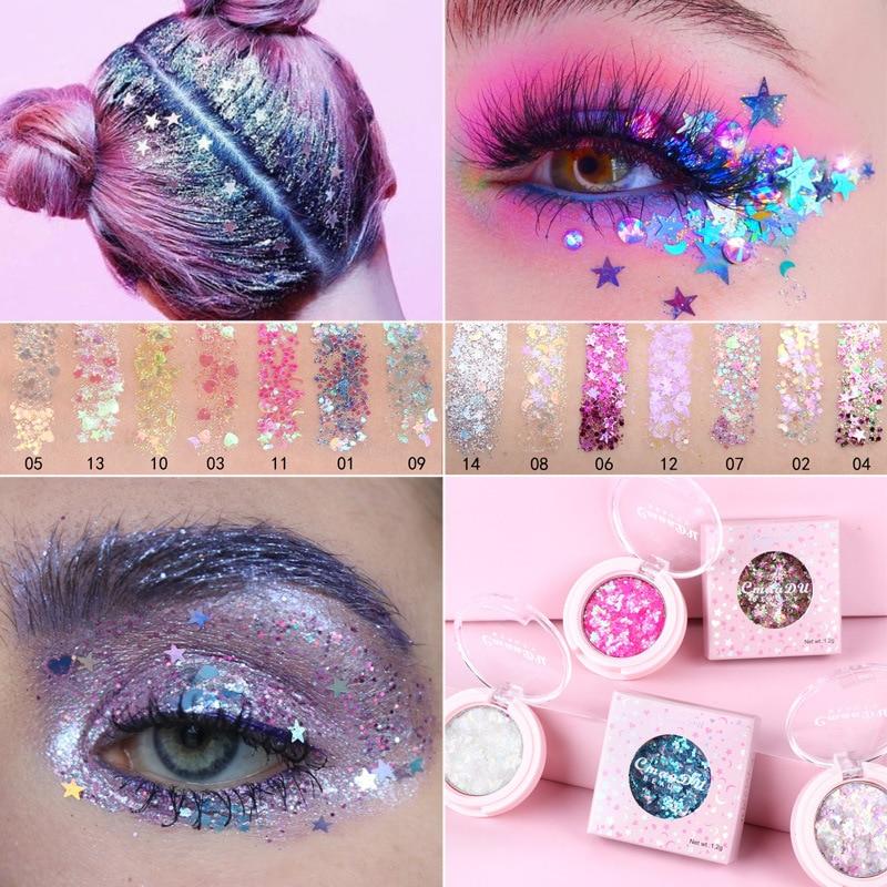 CmaaDu Festival Holographic Face Glitter Flash 14 Colors Sequin Gel Drill Body Eye Face Sequin Decoration Makeup Wholesale