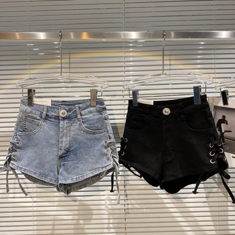 2021 Summer Women Denim Skirt New Side Strap Design Locomotive Street Trend Slim Fit Denim Shorts Hotpants