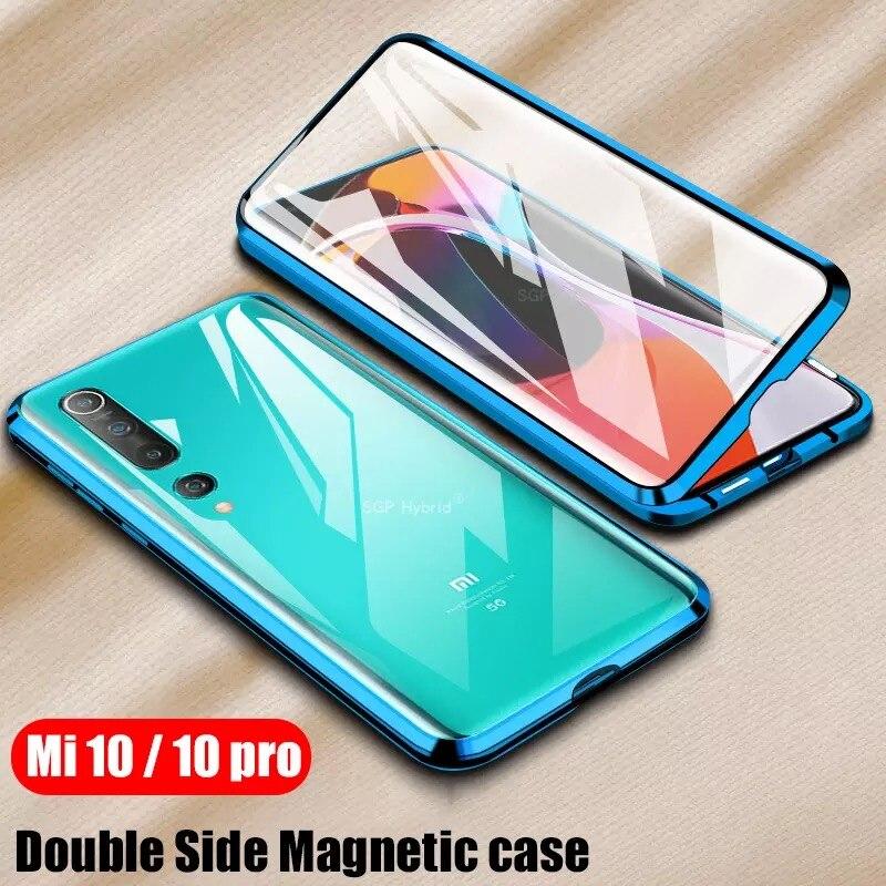 360 protección magnética para Xiaomi Redmi Nota 8 Pro 7 parachoques de Metal doble cubierta de cristal para Mi nota 10 Mi 9 9T 8T funda