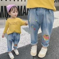 girls pants spring new style childrens jeans korean style boy and girl children cartoon straight leg pants dropshipping