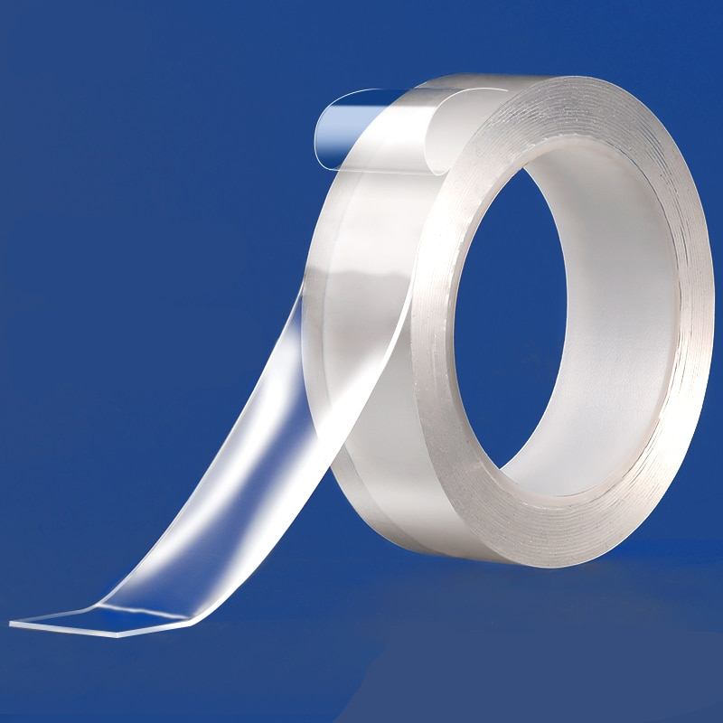 2020 cinta autoadhesiva transparente de doble cara, cinta autoadhesiva reutilizable nano sin marcar, cinta mágica lavable a prueba de agua de doble cara