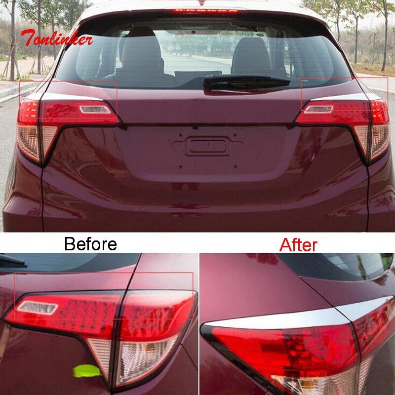 Tonlinker pegatina de cubierta de Faro trasero Exterior para Honda Vezel HRV 2014-19 estilo de coche 4 Uds pegatinas de cubierta de acero inoxidable