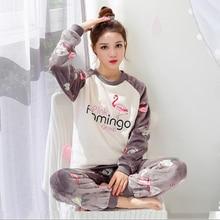 Cartoon Mickey pajamas set Women Thicken Coral fleece Sleepwear Pijama Autumn Winter   Korean sweet Home Pyjamas suit WHX02