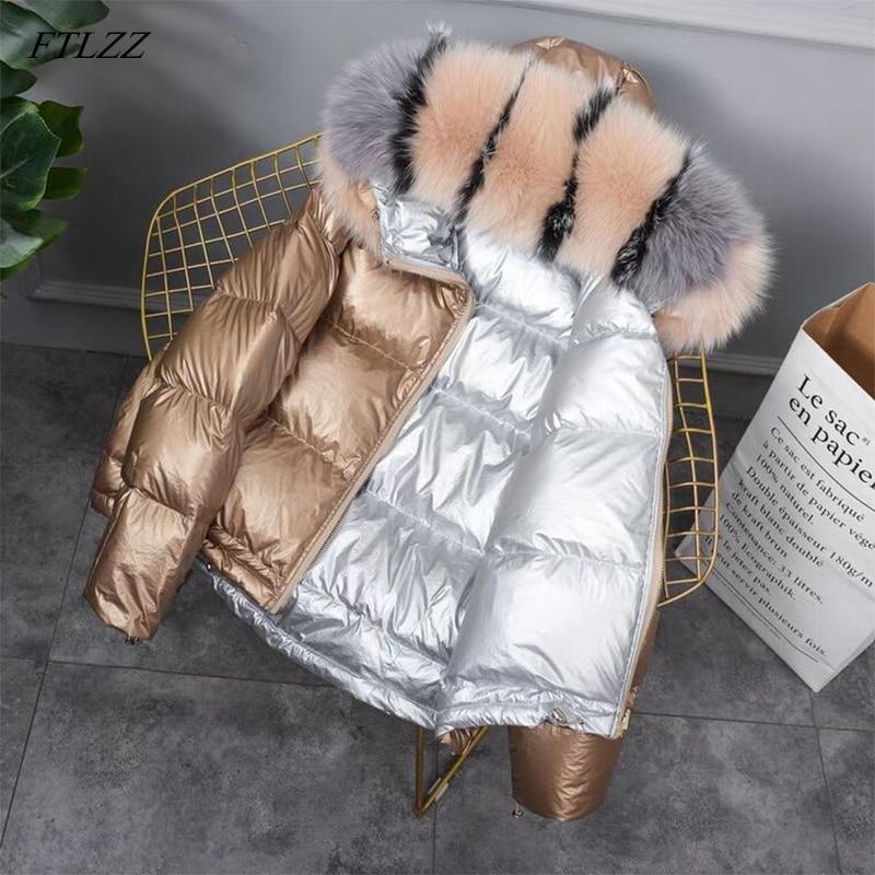 Новинка 2021, Двустороннее пальто золотого и серебряного цвета, зимняя куртка, женская большая парка с искусственным мехом и белой уткой, женс...