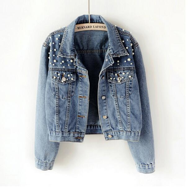 Большие размеры, короткие джинсовые куртки с бусинами 3Xl 5Xl, женская белая джинсовая куртка с длинным рукавом, винтажная Повседневная джинсо...