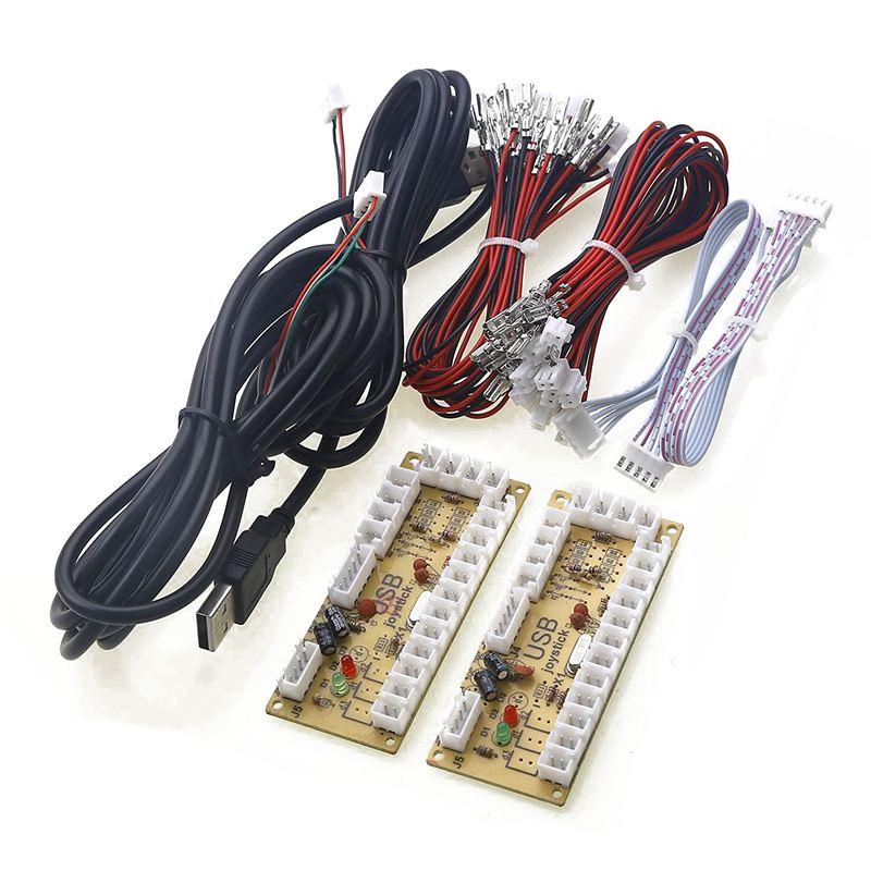 FULL-2X cero retraso Arcade USB codificador PC JOYSTICK para 5PIN JOYSTICK y 2,8 MM botón