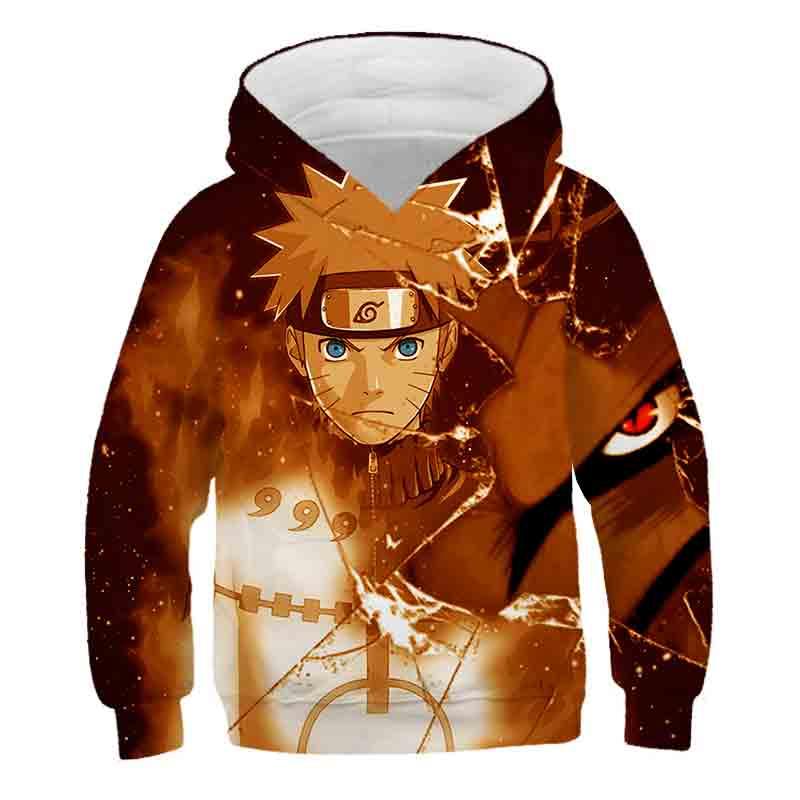 Sudaderas con capucha para niños de 4 a 14 años, sudadera con estampado 3d de Naruto de Uzumaki, chaqueta de calle de Anime para niños y niñas, abrigo, ropa para niños