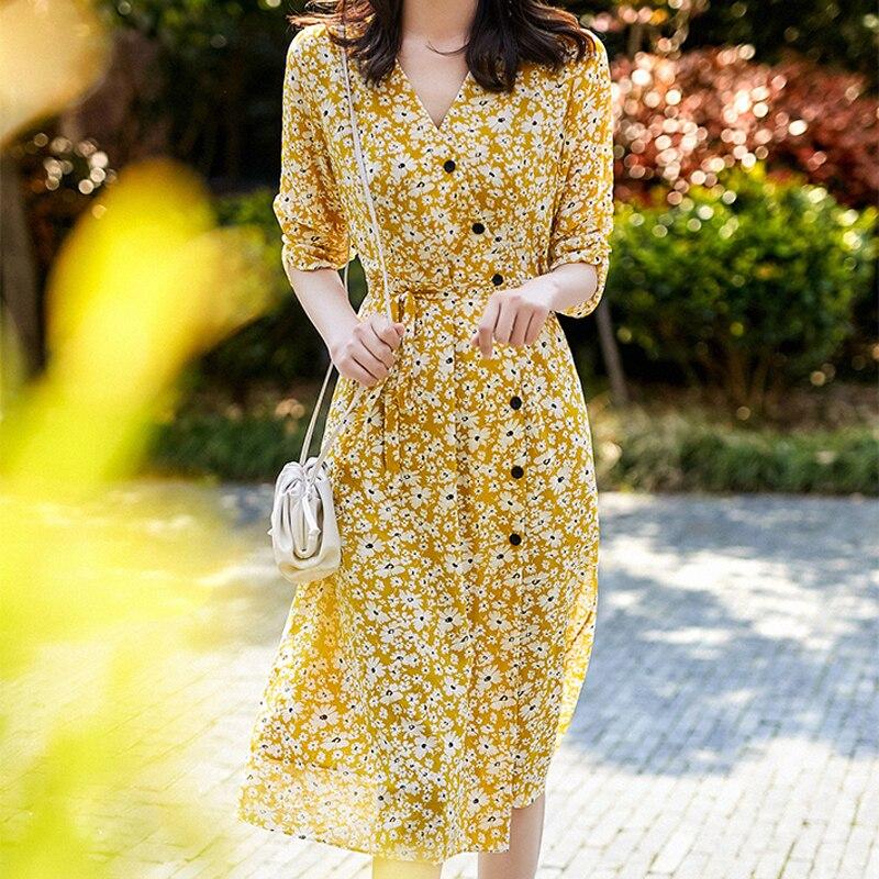Подиумное богемное платье с цветочным принтом, сексуальное платье с v-образным вырезом и поясом средней длины, тонкое элегантное платье на пуговицах, женская одежда, новинка весны/лета