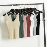 women summer knitted camis tank tops crop top vest hook flower lace solid v neck female short slim outer wear shirt 7 color new