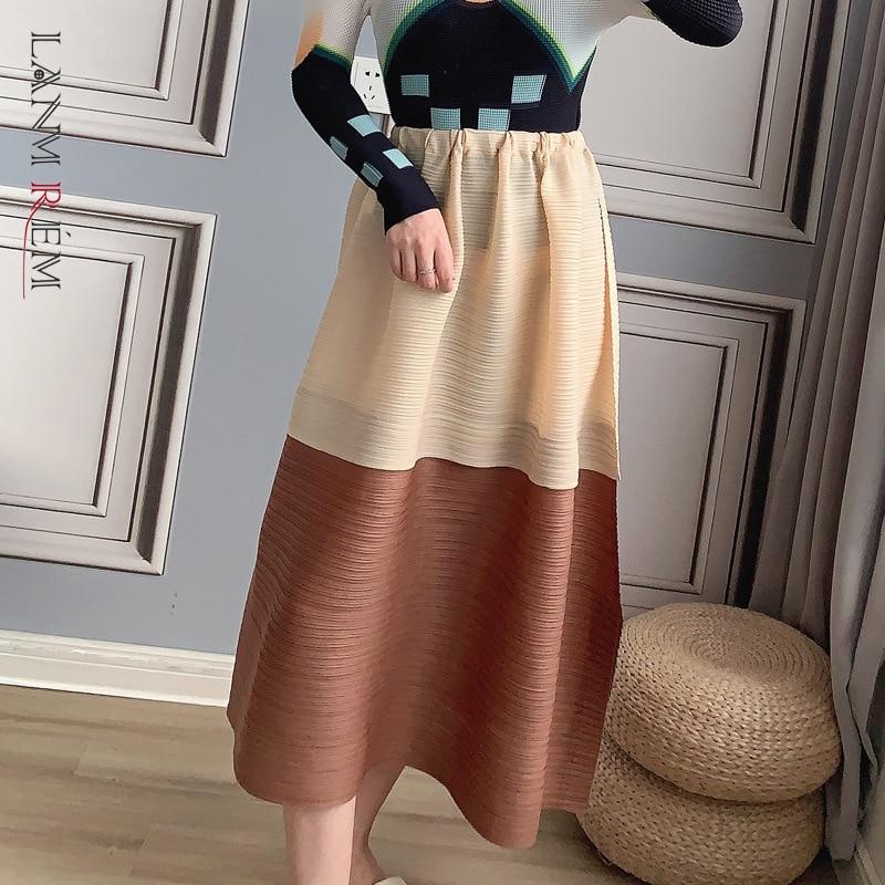LANMREM مطوي تنورة فضفاضة متوسطة الطول عالية الخصر جديد التباين اللون الجانب سبليت ألف خط المرأة موضة التنانير الكبيرة 2D6059