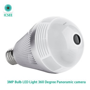 ICSEE APP 3MP Bulb LED Light Wifi Fish-Eye 360 Degree CCTV VR Home Security Panoramic IP Camera