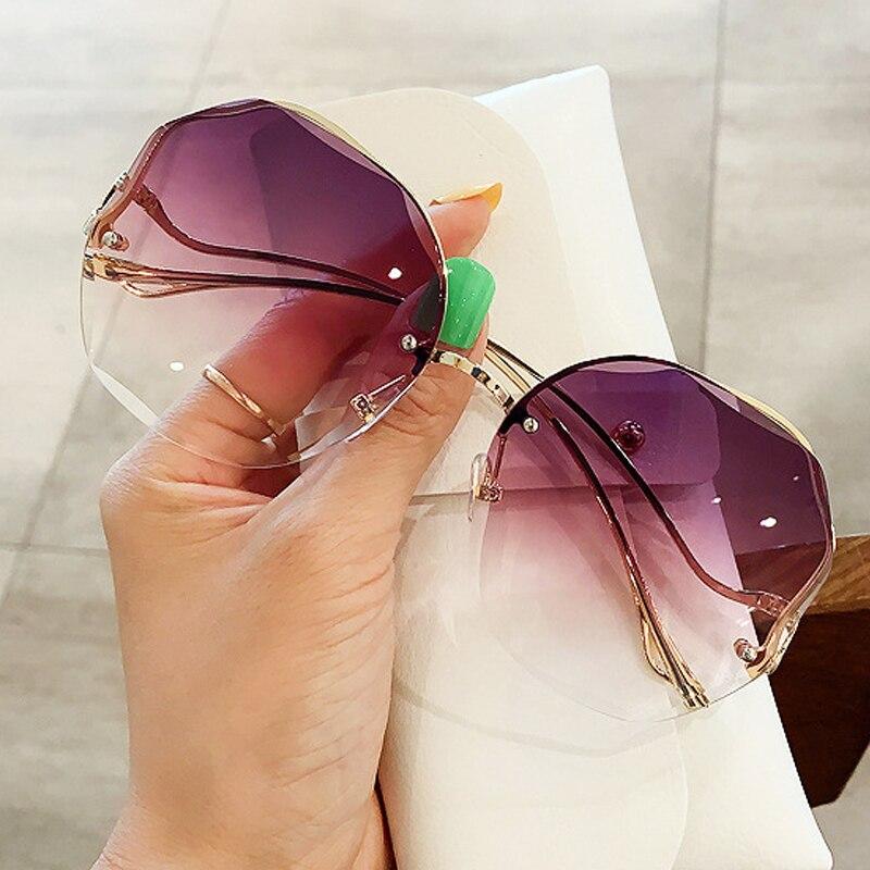 Gafas de sol de corte medio marco con gradiente redondo para mujer, gafas de sol clásicas de aleación elegantes con patas dobladas, gafas de sol femeninas elegantes sin funda