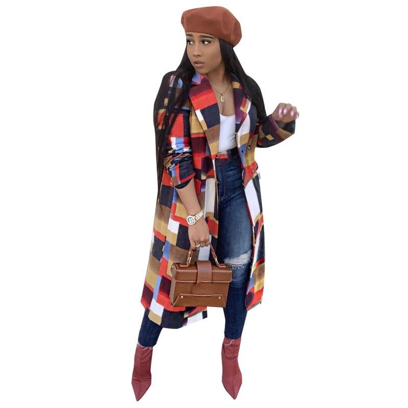 Primavera magro casual longo outwears turn-down colarinho feminino manga cheia ponto aberto xadrez casacos de couro trench coat