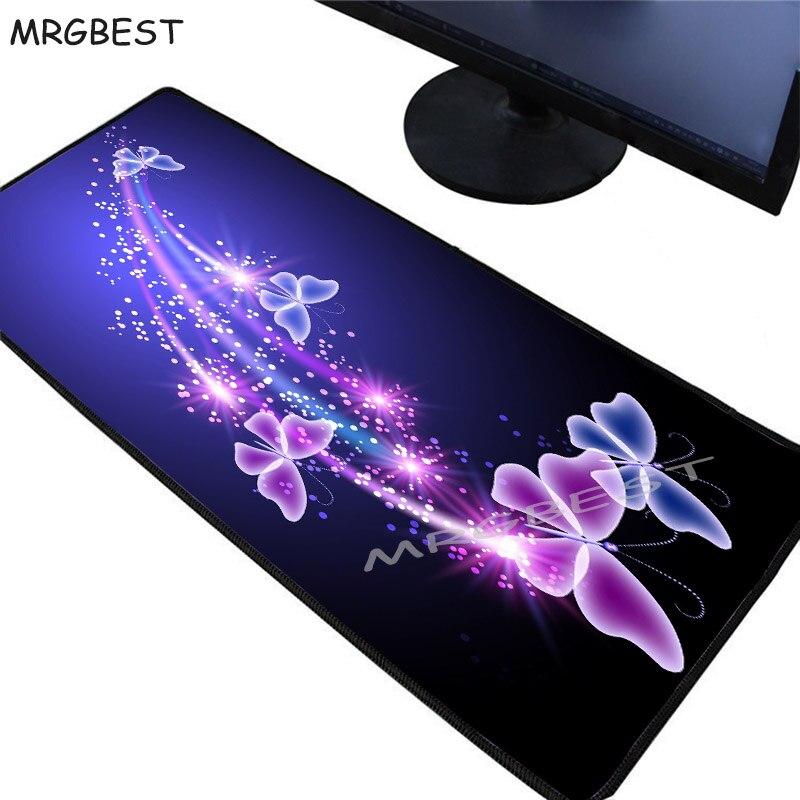 MRGBEST 2020 gran promoción nueva bonita mariposa flor teclado Gaming Mouse Pad tamaño grande para 40x9 0/30x80CM alfombra de goma